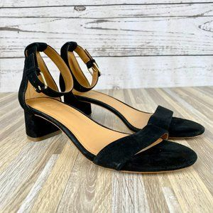 J. Crew Black Suede Block Heel Sandals Size 7.5